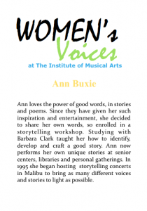 Women's voices Bio_A Buxie